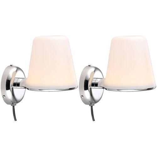 ETC-SHOP Design 2er Set Chrom Strahler LED Wand Leuchte Badezimmer Spiegel Lampe