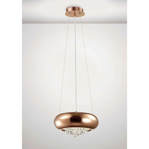 09-DIYAS Aufhängung Phyllis Small 2 Bulbs G9 Poliertes Kupfer / Kristall