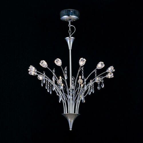 09-DIYAS Blumenstrauß Pendelleuchte 18 Glühbirnen poliert Chrom / Kristall