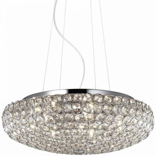 01-IDEAL LUX KING Kristall Chrom Anhänger 7 Lichter