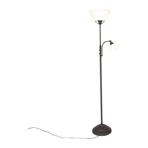 Qazqa - Klassische Stehlampe braun mit Leselampe - Dallas