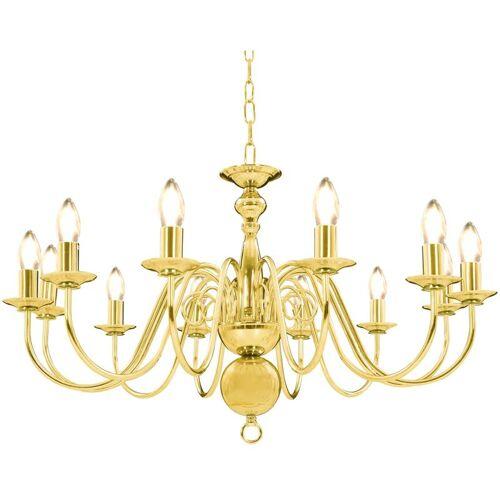VIDAXL Kronleuchter Golden 12 x E14-Glühbirnen