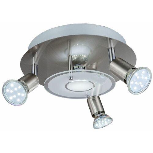 B.K.LICHT LED Decken-Leuchte rund Metall Glas Lampe Wohnzimmer Strahler 3-flammig