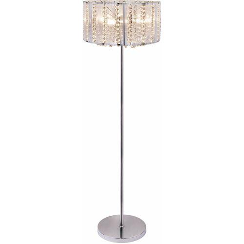 ETC-SHOP Steh Lampe Decken Fluter Wohn Zimmer Kristall Chrom Leuchte im Set