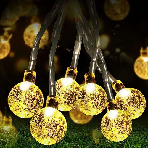 ABCRITAL LED Lichterkette Außen Solar Lichterkette mit 50er LED Kristallkugeln
