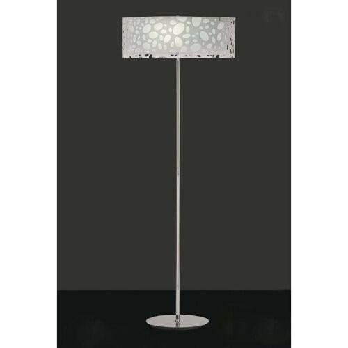 09-DIYAS Lupinen Stehlampe 4 Lampen E27, hellweiß / weiß Aryl / poliertes Chrom