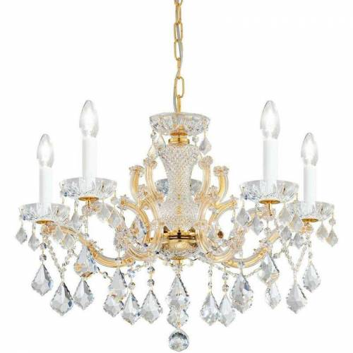 14-KOLARZ MARIA LOUISE Kristallleuchter 24 Karat Gold 5 Glühbirnen