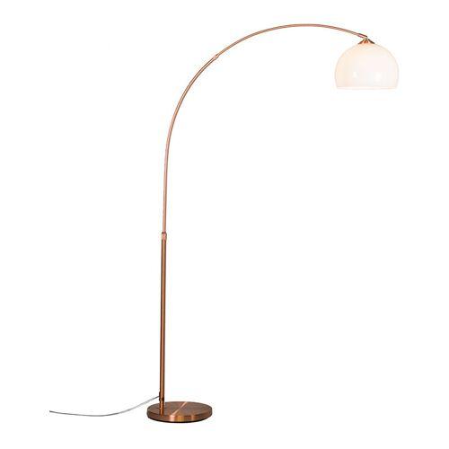 Qazqa - Moderne Bogenlampe Kupfer mit weißem Lampenschirm - Arc Basic