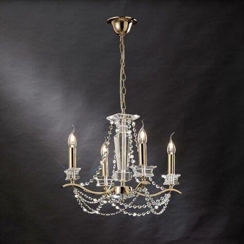 09-diyas - Nydia 4-Licht Anhänger in Gold / Kristall