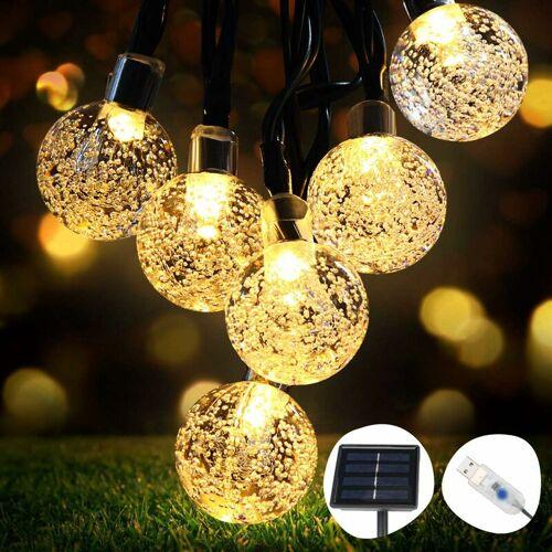 ABCRITAL Solar Lichterketten, Lichterketten 50 LED Kristallkugeln IP65