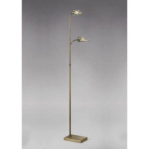 09-diyas - Stehlampe Ashton 2 Lampen Antik Messing / Kristall