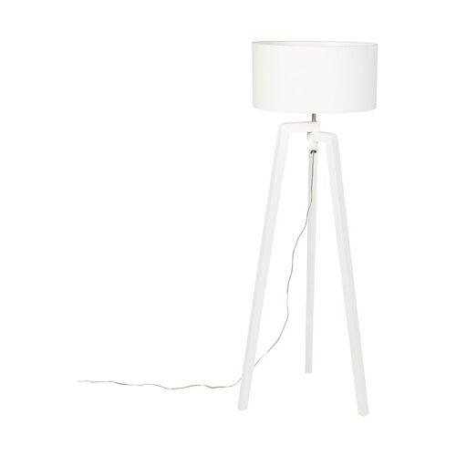 QAZQA Stehlampe Stativ weißes Holz mit weißem Schirm 50 cm - Puros