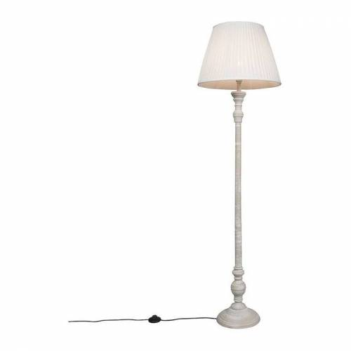 Qazqa - Ländliche Stehlampe grau mit weißem Plisseeschirm - Classico