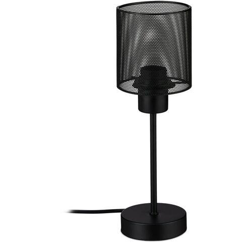 Relaxdays - Tischlampe schwarz, schmale Nachttischlampe aus Metall,