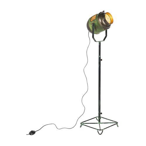 Qazqa - Industrielle Stehlampe Bronze mit grünen Akzenten 140 cm - Byron