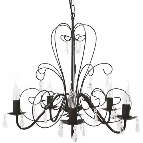 ETC-SHOP Vintage Pendel Lampe Kronleuchter Esszimmer Luster Kristalle klar im