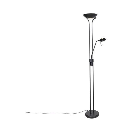 Qazqa - Moderne Stehlampe schwarz mit Leselampe inkl. LED dunkel bis