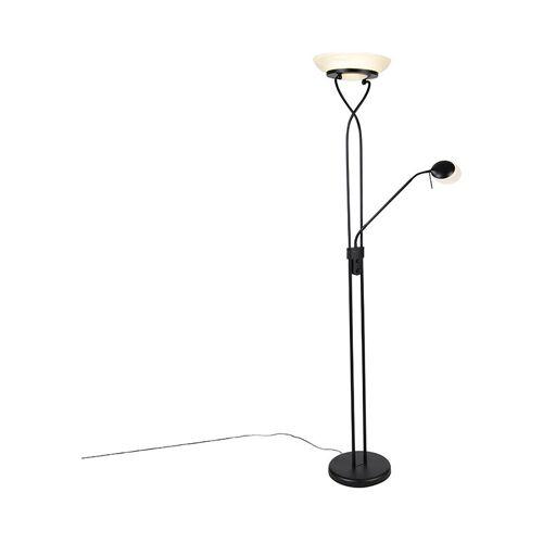 Qazqa - Stehlampe schwarz inkl. LED und Dimmer mit Leselampe - Empoli