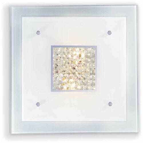 01-IDEAL LUX Weiße Kristalldeckenleuchte STENO 4 Glühbirnen
