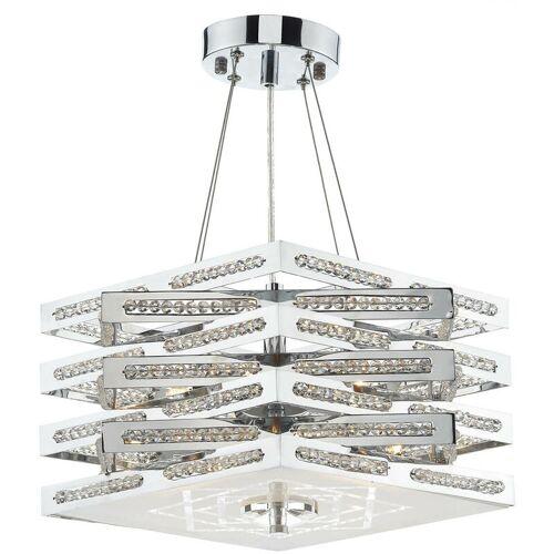 10-DAR LIGHTING Würfel Pendelleuchte aus Chrom und Kristall 5 Glühbirnen