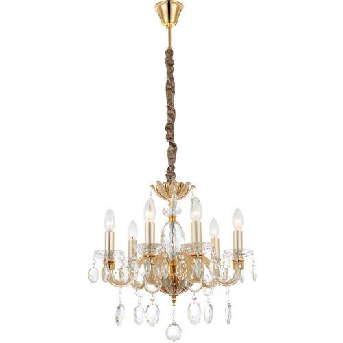 Globo - Kronleuchte Glas Kristall Leuchte gold Lampe Luster klar Wohn