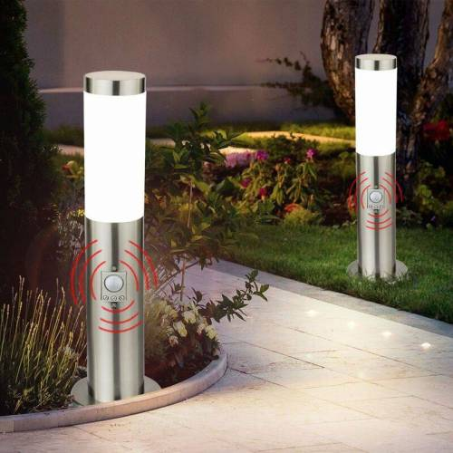 ETC-SHOP 2er Set LED 9,5 Watt Außen Leuchte Steh Beleuchtung Bewegungsmelder