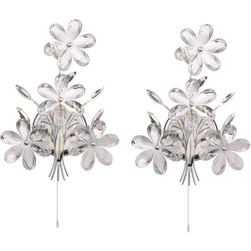 ETC-SHOP 2er Set Wand Lampen Kristall Blumen Blüten Design Wohn Zimmer