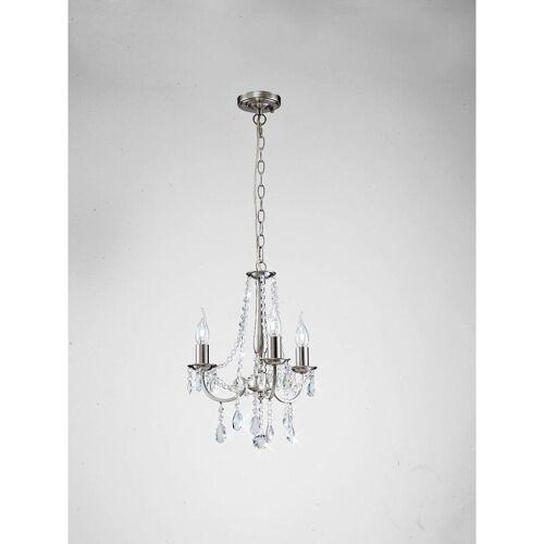 09-diyas - Anhänger Kyra 3 Bulbs Satin Nickel / Kristall
