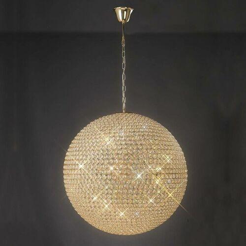 09-DIYAS Aufhängung Ava 12 Glühbirnen Gold / Kristall