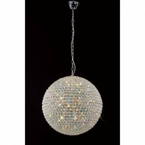 09-DIYAS Ava Pendelleuchte 9 Glühlampen aus poliertem Chrom / Kristall