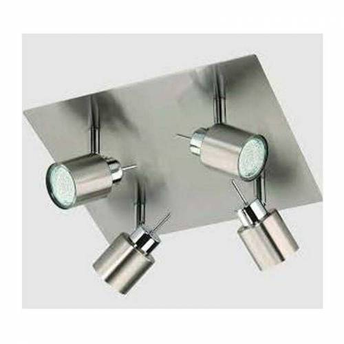 BRILONER * Strahler Pin LED Deckenstrahler 4 x GU10 2,3 Watt Nickel matt