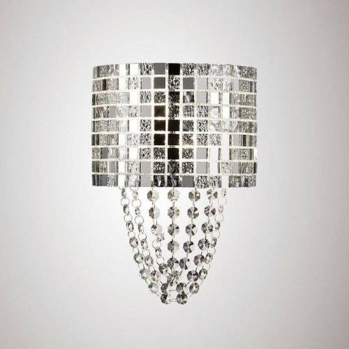 09-DIYAS Camden 2 Bulbs G9 Wandleuchte Chrom poliert / Mosaikglas / Kristall