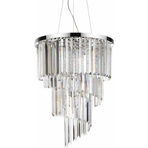 01-IDEAL LUX CARLTON Kristall Chrom Anhänger 12 Lichter