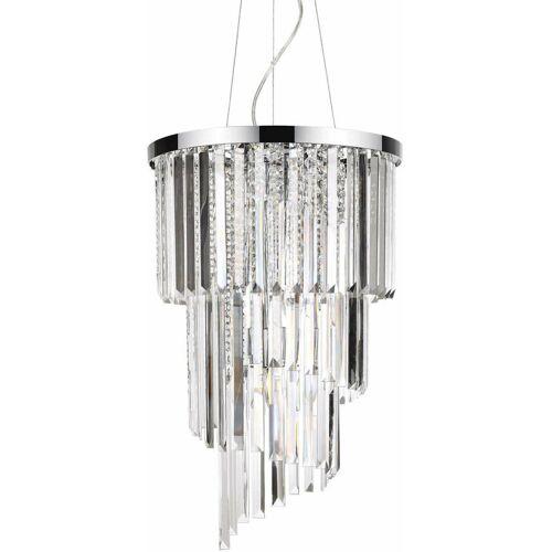 01-IDEAL LUX CARLTON Kristall Chrom Anhänger 8 Lichter