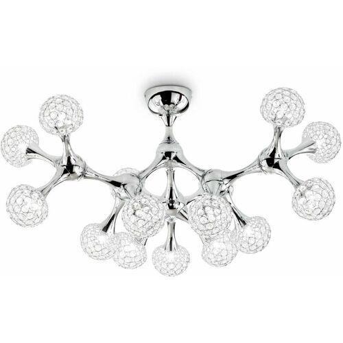 01-IDEAL LUX Chrom Deckenleuchte aus Kristall NODI CRYSTAL 15 Leuchten
