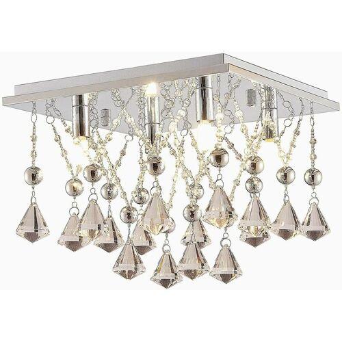 LINDBY Kristall-LED-Deckenlampe Saori, verchromt