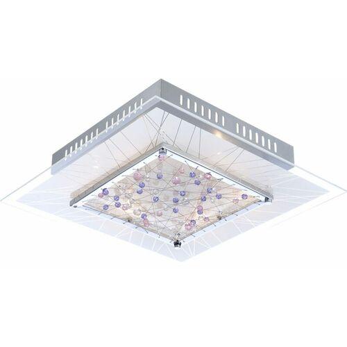 GLOBO Decken Lampe Leuchte Esszimmer Chrom Kristalle quadratisch edel 48430-6
