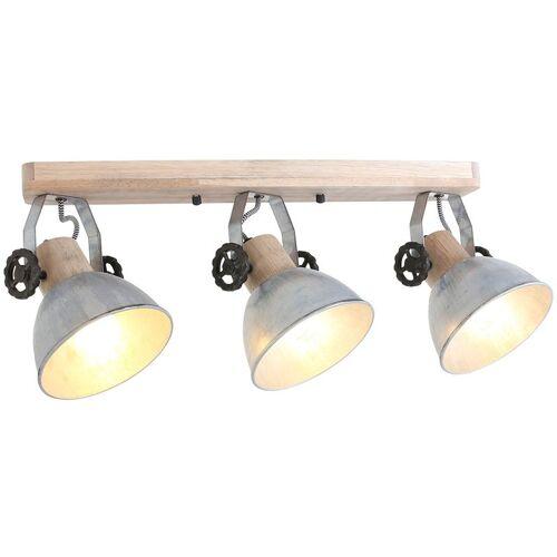 STEINHAUER Deckenleuchte Holz Metall Silber 3x E27 Strahler Steinhauer 2133NI