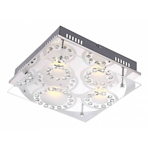 GLOBO 16 Watt LED Deckenlampe Leuchte Chrom Glas mit Muster Kristalle klar