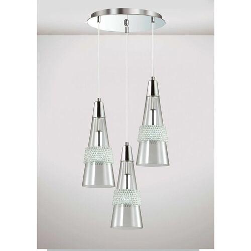 09-DIYAS Emilia Pendelleuchte 3 Lampen E14 rund poliertes Chrom / Kristall
