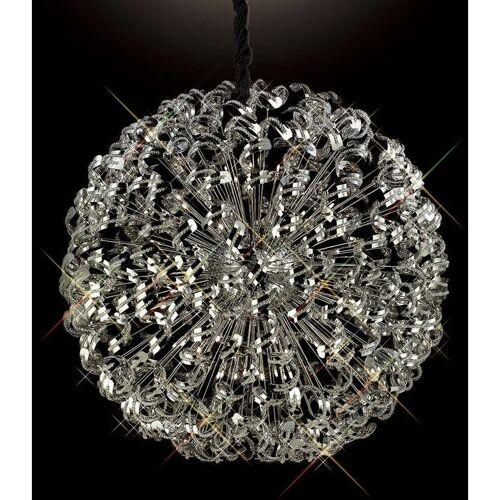 09-DIYAS Esme Pendelleuchte 54 Glühlampen aus poliertem Chrom / Kristall