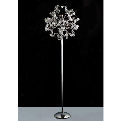 09-diyas - Esme Stehleuchte 12 Glühlampen aus poliertem Chrom / Kristall