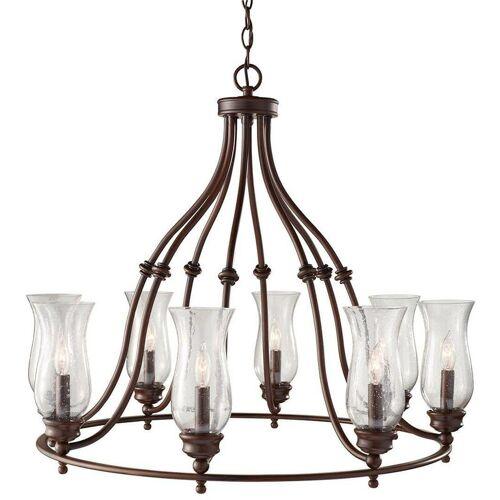02-ELSTEAD Pickering Lane Anhänger, Bronze und Glas, 8 Glühbirnen