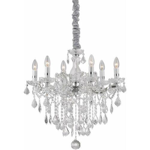 01-IDEAL LUX FLORIAN Kristall Chrom Anhänger 6 Lichter