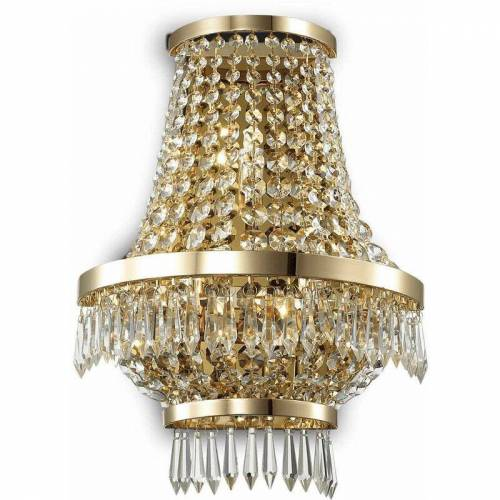 01-IDEAL LUX Goldwandleuchte aus CAESAR-Kristall, 3 Leuchten
