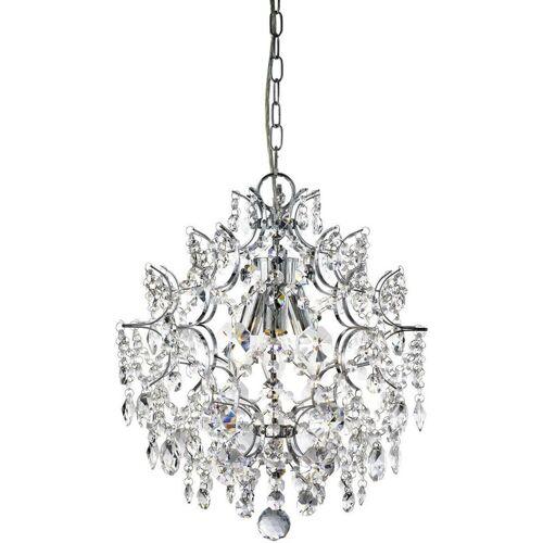 03-SEARCHLIGHT Hängelampe 3 Harrietta-Lampen aus Chrom und Kristall