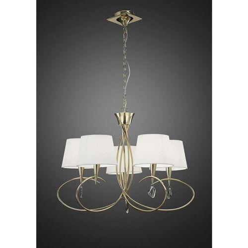 09-DIYAS Hängelampe Mara 5 Bulbs E14, Gold mit elfenbeinweißen Lampenschirmen