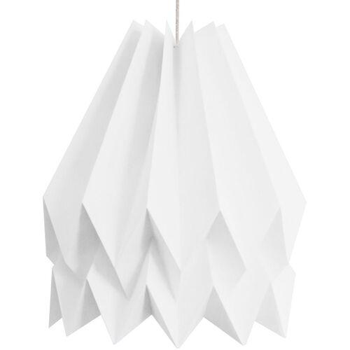 GREENICE Hängelampe Papier 160g - Kabel Textil Sand 1M - E27 Weiß Polar