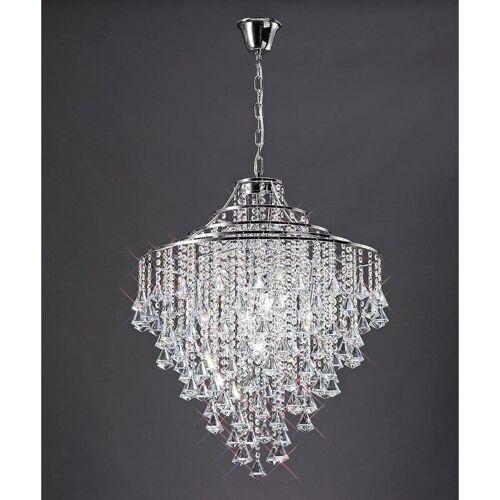 09-DIYAS Inina Pendelleuchte 7 Glühlampen aus poliertem Chrom / Kristall