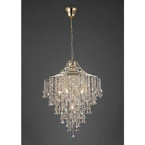 09-DIYAS Inina Pendelleuchte 7 Lampen E14 Gold / Kristall